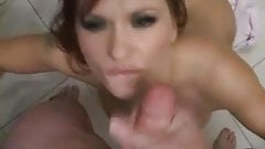 Slutty chick on her knees to suck his cock