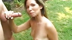 Milf jerks off man out doors -  724adult com