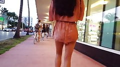 Candid voyeur hot in peach romper incredible legs