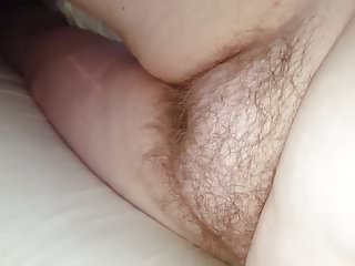 hairy pussy & big tits, nipples laying naked on the bed
