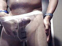 cumming in ripped pantyhose