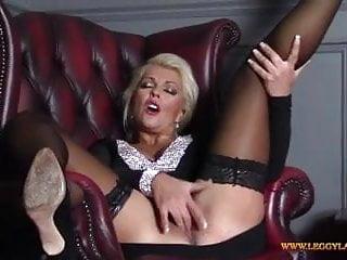 Horny blonde Milf finger fucks tight moist pussy in nylons