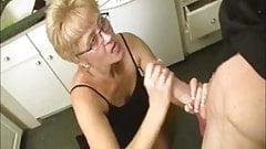 Short-Haired Grandma Gets A Big Facial