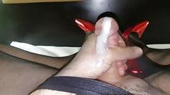 Orgasm cum in black nylon seamless pantyhose and red heels