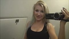 Hot german blonde pissing and teasing in plane toilet