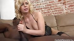 Cindy takes big black cock in front of her cuckold