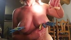 Fun with candle wax on breasts