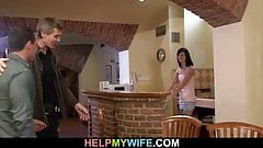 Old hubby invites him for cuckolding