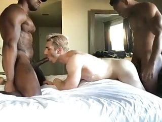 Interracial bareback threesome.
