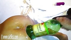 Gigantic anal dildo and bottle fucked Latina