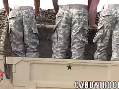 Hot army hunks fucking outdoor on a army truck with passion