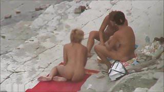 THREE WOMEN NAKED AT NUDIST BEACH