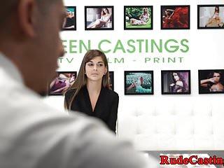 Tattooed babe tasting jizz at casting