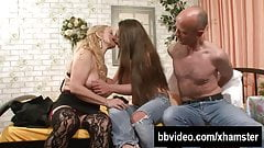 Mature woman fucking with young couple
