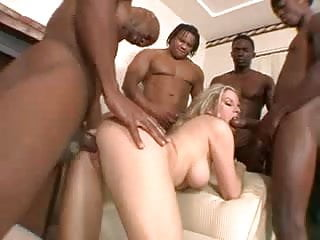 Pretty blonde whore enjoys a BBC gangbang