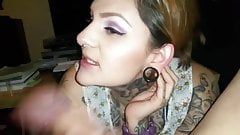 Tattooed girl loves to swallow