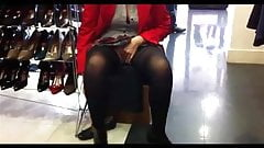 upskirt in a shoe store