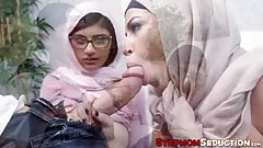 Two Arab ladies having their MILF and teen pussies drilled