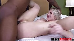 Busty blonde MILF in lingerie ravaged by BBC and facialized