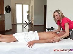 Doggystyled stepmom massages cock during ffm