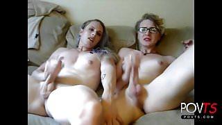 Two sexy crossdressers jerking and handjob