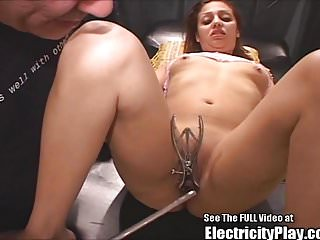 Petite Latina Small Tits Electro Pussy Shocked and Blowjob