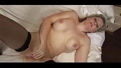 Blonde Milf in Stockings Fingering