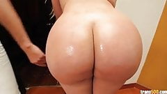 Busty big ass tranny gets big fat cock