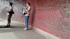 Polish candid girl smoking slim cigarette public  661hd