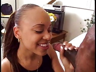 Amateur ebony babe sucks and fuck long black cock on couch