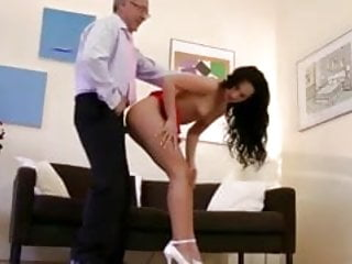 Blonde babe sucks and fucks old guy cock and loves it
