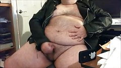 Fat Hairy Bear Jacks Off Chubby Cock
