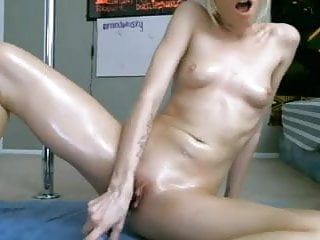 Skinny Blond With Sexy Ass Works Pussy With Big Toy