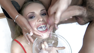 Premium Bukkake - Angela swallows 67 huge mouthful cumshots
