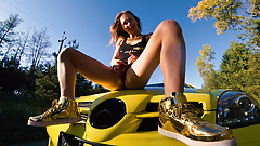 Fitness amateur couple has public sex on car . Mia Bandini
