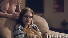 Stepmom and teen double teamed by big dicked studs