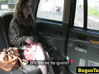 Preview 1 of Real taxi brit in stockings spunked on pussy