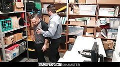 Daddy mall cop barebacks straight Latin stud for stealing