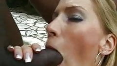 Blonde does two bbc outside.