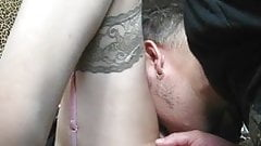 Liking and fingering pussy in stockings