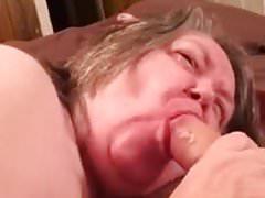 Fat granny gives blowjob and swallows all