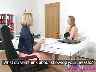 FemaleAgent Sexy blondes make each other cum in lesbian sex