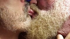 Hairy bears passionate kissing
