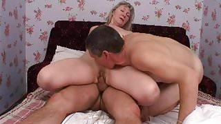 blonde mom on bed