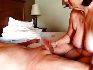 Wife giving a great blow job and handjob