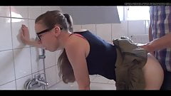 Brunette with glasses fucked in the bathroom