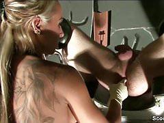 German Femdom Teen Give Slave Prostata Massage to Cum