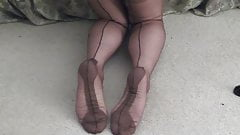 SIL FF stockings and cum on feet