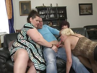 Big titty mature MILFs sharing lucky stud