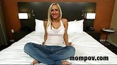 Blonde milf rides dick in pov video